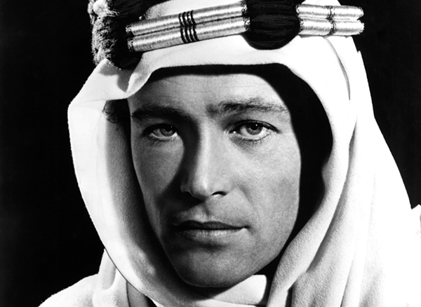 As T.E. Lawrence in Lawrence of Arabia