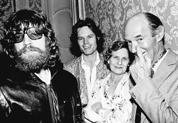 Mick (bearded) w/ Eva Ensley Mary and Basil Fanshawe Jagger