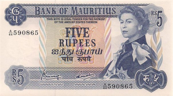 Mauritius, 5 Rupees, Age 29