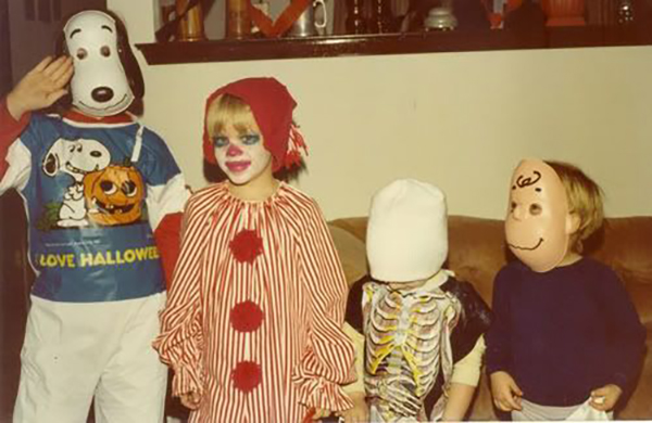 Snoopy, Clown, Skeleton (?) and Charlie Brown