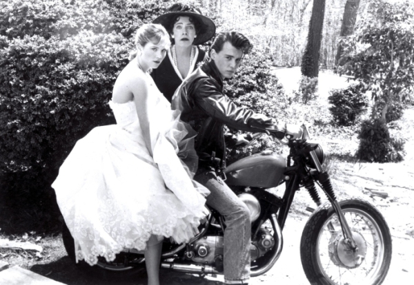 """Johnny Depp from """"Cry Baby"""" w/ Amy Locaine and Polly Bergen"""