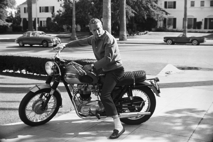 Paul Newman And His Triumph Motorcycle1965 C 1978 David Sutton