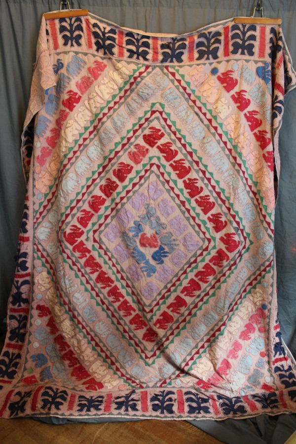 Old Animal Motif Indian Kantha