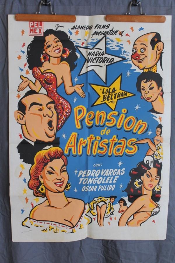 1956 Mexican Movie Poster - Pension de Artistas