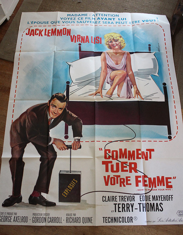 "How to Murder Your Wife - Jack Lemmon   French 1 Panel 47"" x 63"" $100"