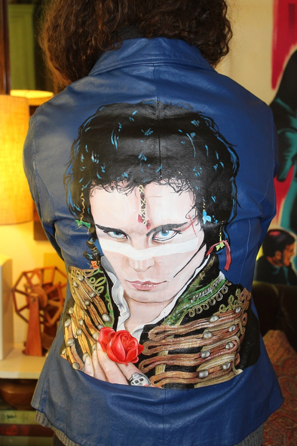 Adam Ant - 90's era blue leather women's jacket. Size 10. $500.