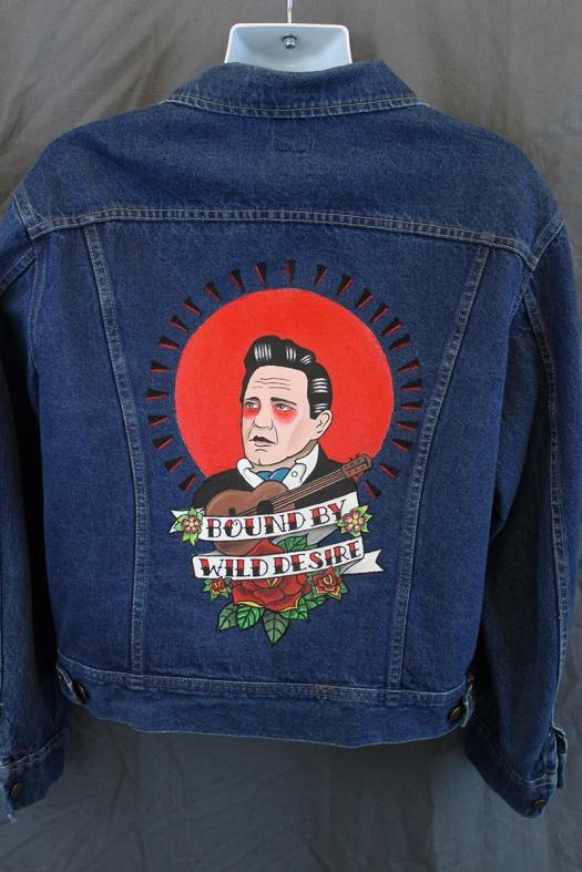 Johnny Cash - Flash art style on 80's-90's era Lee Trucker jacket XL - $399