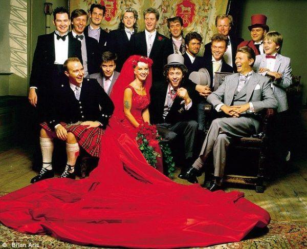 Bob Geldolph & Paula Yates. The wedding party is best man David Bowie as well as Duran Duran, & Spandau Ballet