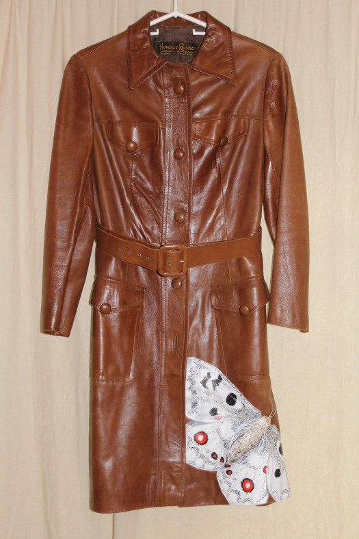 Apollo Butterfly on 70's era all leather 3/4 trench - $525
